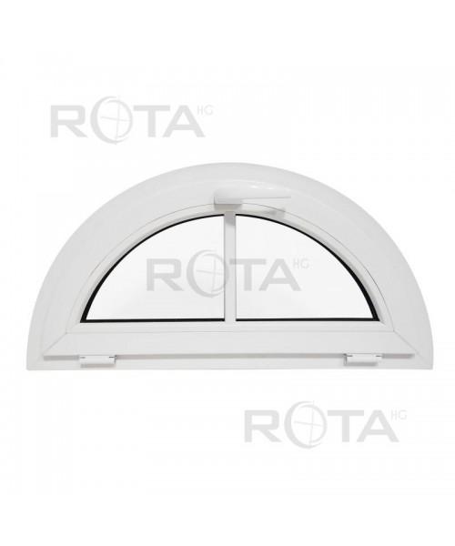 Halbkreisfenster Kipp VEKA Weiss mit aufgesetzten Sprossen
