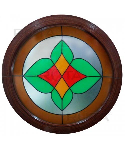 Rundfenster Fest Mahagoni 2 Seitig mit Dekorglass