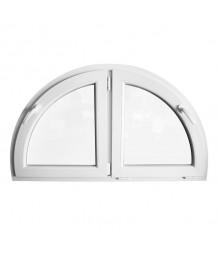 Halbrunde Doppelflügelfenster Dreh mit Kipp Weiss Kunststoff