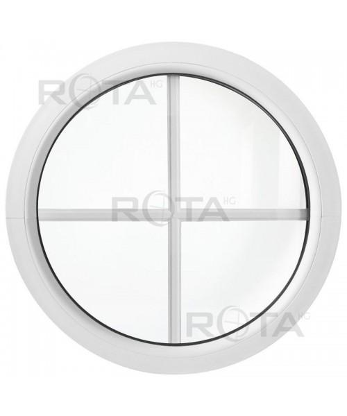 Rundfenster Fest Weiss Kunststoff mit Innenliegenden Sprossen