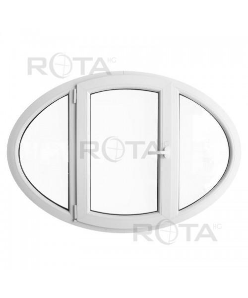 Oval Dreh Fenster 1400x1000mm Weiss Kunstoff