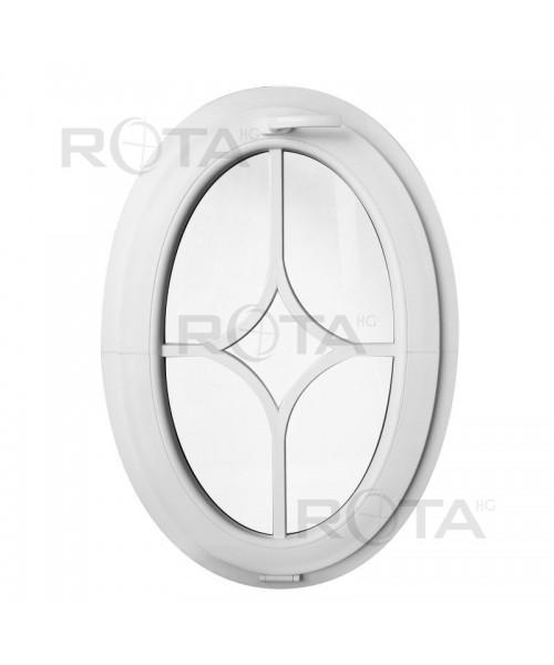 Oval Kippfenster mit Aufgesetzten Sprossen Weiss