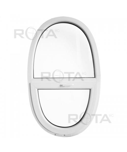 Oval Kipp mit Fest Fenster 900x1500mm Weiss