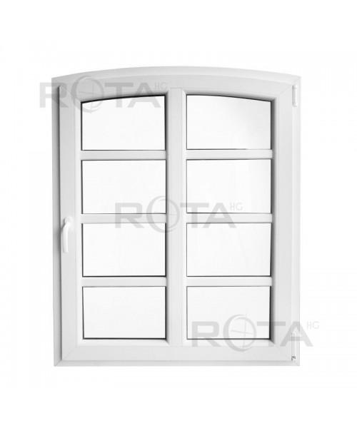 Bogenfenster Dreh-Kipp 100x125 mit Aufgesetzte Sprossen Weiss
