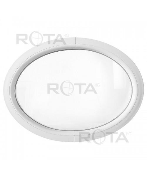 Ovalfenster Fest Weiss Kunststoff waagerecht