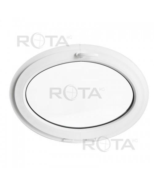Fenêtre ovale à soufflet PVC Blanc (horizontal)