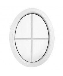 Oval Fenster Fest Weiss mit Innenliegenden Sprossen (senkrecht)