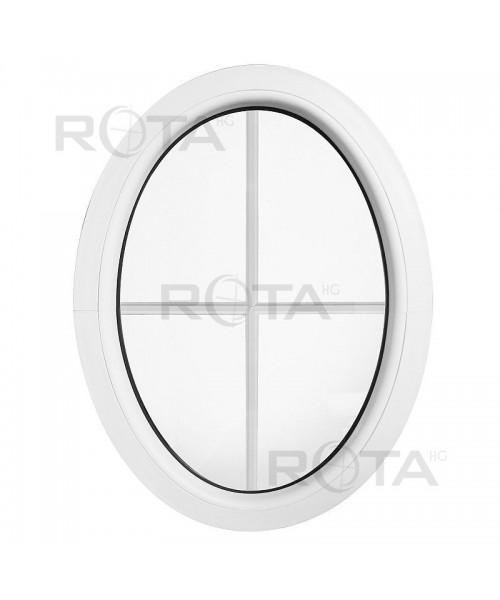Oval Fenster Fest Weiss mit Innenliegenden Sprossen