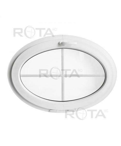Oval Fenster Kipp Weiss mit Innenliegenden Sprossen