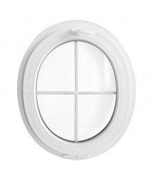 Ovalfenster Kipp Weiss mit Innenliegenden Sprossen