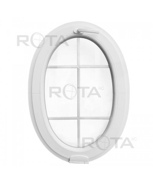 Oval Fenster Kipp Weiss mit Innenliegenden Sprossen und Estetic3D Scharnier