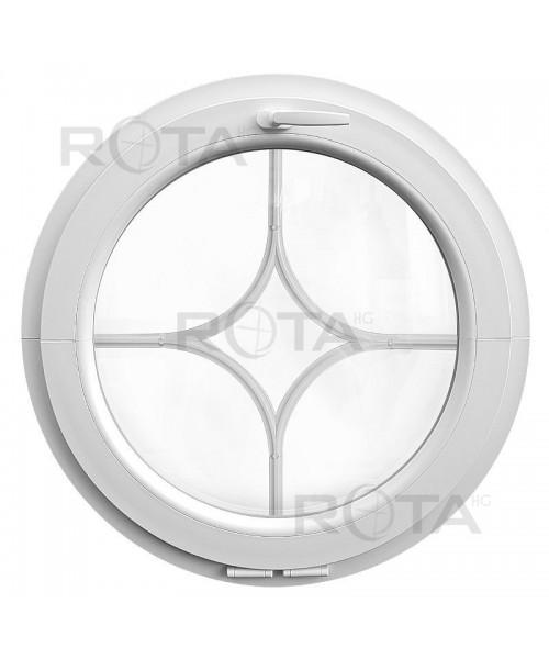 Rundfenster Kipp Weiss Kunststoff mit dekorativ Sprossen 'Stern'