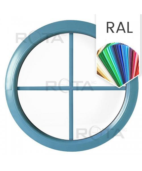 Rundfenster Fest RAL Farben lackiert mit Innenliegenden Sprossen