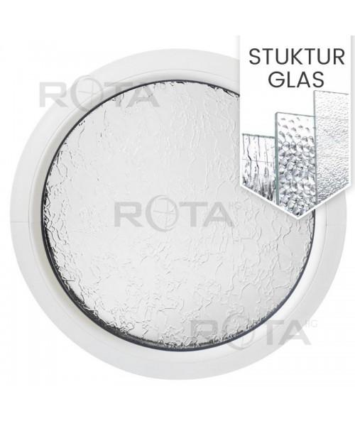 Rundfenster Fest Weiss Kunststoff mit Ornamentglas