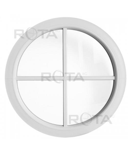 Rundfenster Fest Weiss Kunststoff mit Aufgesetzten Sprossen