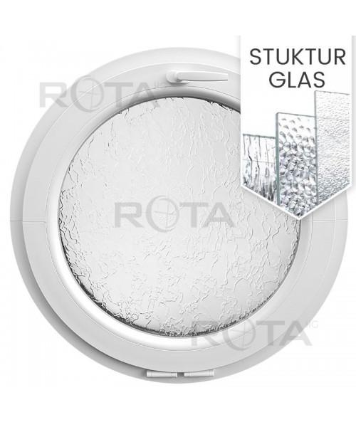 Rundfenster Kipp Weiss Kunststoff mit Ornamentglas