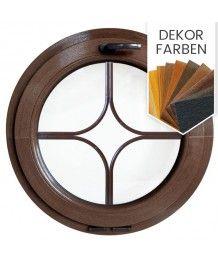 Rundfenster Kipp Dekorfarbe Kunststoff mit dekorativ Sprossen 'Stern'