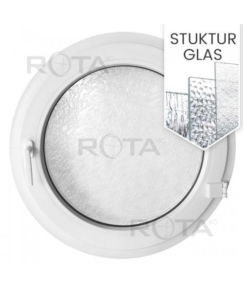 Rundfenster Dreh Weiss Kunststoff mit Ornamentglass