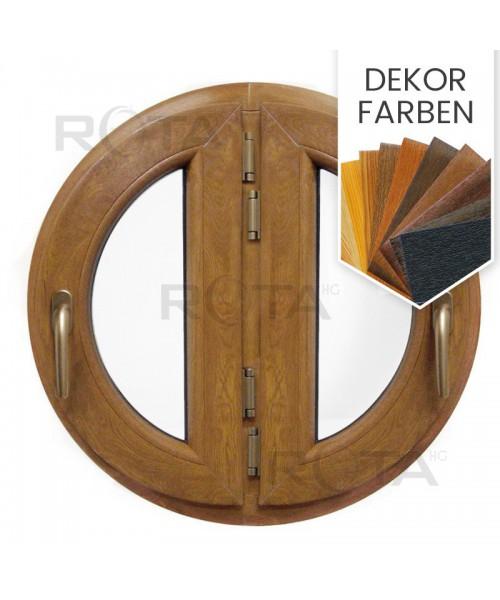 Rundfenster Doppel Dreh Dekorfarbe Hozlstruktur