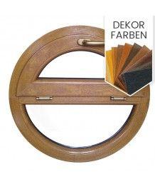 Rundfenster Kipp mit Fest Dekorfarbe Holzstruktur