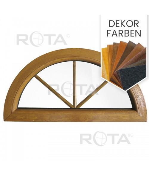 Halbrundfenster Halbkreis Fest Dekorfarbe Kunststoff mit Innenliegende Sprossen