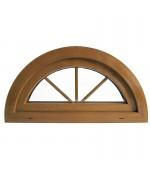Halbrundfenster Kipp Dekorfarbe Holzstruktur mit innenliegenden Sprossen
