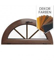 Halbrundfenster Kipp Dekorfarbe Kunststoff mit Innenliegende Sprossen