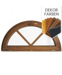 Halbrundfenster Kipp Dekorfarbe Kunststoff mit Aufgesetzten Sprossen