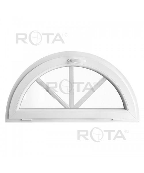 Halbrundfenster Kipp Weiss Kunststoff mit Innenliegende Sprossen