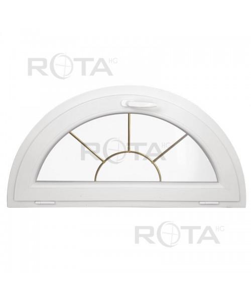 Halbrundfenster Kipp Weiss mit Innenliegende Sprossen Sonne Motiv