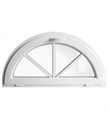 Halbrundfenster Kipp Weiss Kunststoff mit Aufgesetzten Sprossen