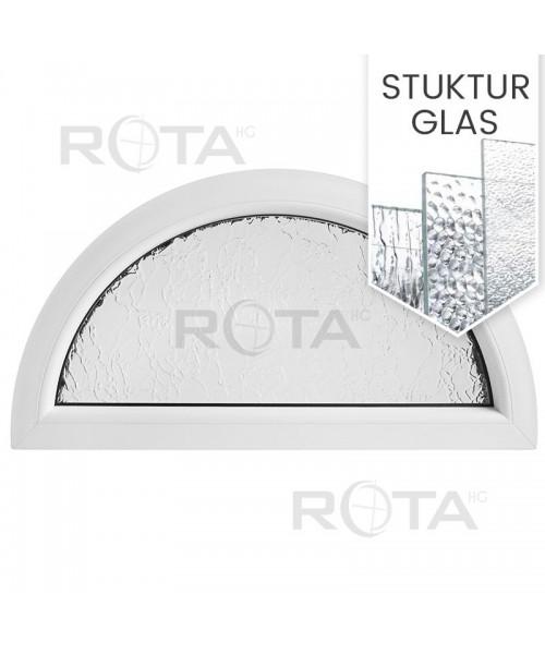 Halbrundfenster Halbkreis Fest Weiss mit Ornamentglas