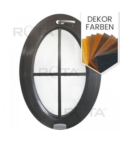 Ovalfenster Kipp Dekorfarbe Kunststoff mit Aufgesetzte Sprossen