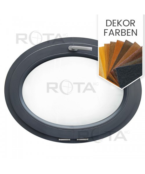 Oval Fenster Kipp Dekorfarbe Kunststoff (waagerecht)