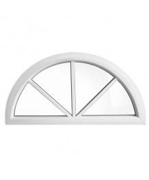 Halbrundfenster Fest Weiss Kunststoff mit Aufgesetzten Sprossen