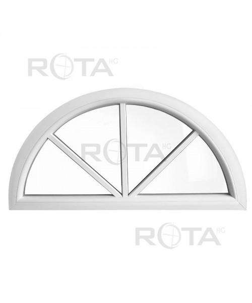 Halbrundfenster Halbkreis Fest Weiss Kunststoff mit Aufgesetzten Sprossen