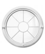 Rund Schwingfenster Weiss Kunststoff mit innenliegenden Sprossen 'Sonne'