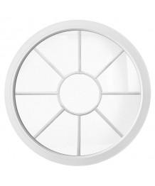 Rundfenster Fest Weiss Kunststoff mit Innenliegenden Sprossen 'Sonne'