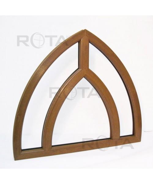 Gotik Festfenster 1150x1050 mm Golden Oak Kunststoff