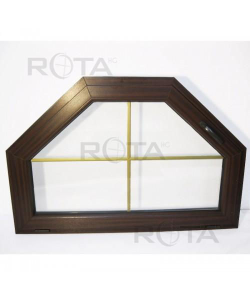 Schrägfenster Kipp 1250x830 Mahagoni mit Gold Sprossen