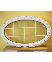 Oval Fenster 1600x900 Kipp mit Sprossen Weiss